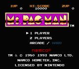 Ms. Pac-Man NES Title screen