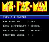 Ms. Pac-Man SNES Main Menu