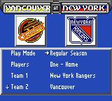 NHL 95 Game Gear Main menu