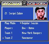 NHL 95 Game Gear Looking at some players