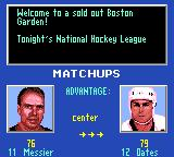 NHL 95 Game Gear Matchups