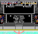 NHL 95 Game Gear In-game menu