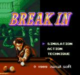 Break In TurboGrafx-16 Title screen/Main menu