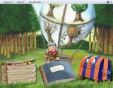 Oscar The Balloonist: My Creative Workshop Windows This is the main menu<br>The crate opens up Oscar's Creative Corner<br>The book opens the Design & Print dept.<br>Carmela, the striped trunk, is where the games are.
