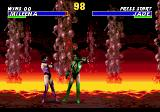 Ultimate Mortal Kombat 3 Genesis Fighting on a lava background