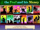 The Fool and His Money Windows The title screen with tarot cards for 12 profiles