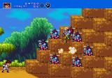 Gunstar Heroes Genesis enemy squadron in route to destruction