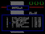 Grand Prix Master ZX Spectrum Competitors starting list