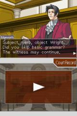Phoenix Wright: Ace Attorney - Justice for All Nintendo DS Edgeworth is commenting Wright's bad grammar