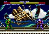 Teenage Mutant Ninja Turtles: Tournament Fighters Genesis Battle near a sunken ship