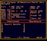 Might and Magic II: Gates to Another World SNES Viewing a character