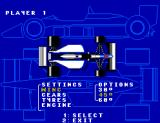 Formula One SEGA Master System This screen allows you to fine-tune your car befoe you start the race