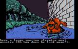 Sorcerer of Claymorgue Castle DOS Meet the moat monster... sleeping on the job. (CGA, composite)