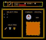 Neutopia TurboGrafx-16 Inventory and equipment