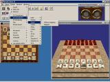 Virtual Chess 2 Windows Lots of options are tucked away in the menu bar. The game uses multiple windows to show different views of the game, the clock etc. The blue around the windows is the Windows desktop