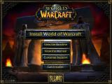 World of WarCraft Windows Installation screen and menu