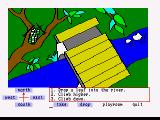Winnie the Pooh in the Hundred Acre Wood Amiga Up a tree looking down at the bridge