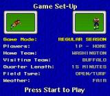 John Madden Football '93 SNES Game Set-up screen