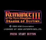 Romance of the Three Kingdoms III: Dragon of Destiny Genesis Title screen