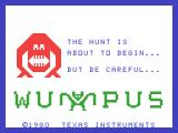 Hunt the Wumpus TI-99/4A Title screen