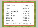 Alpiner TI-99/4A Here's the mountains you'll be climbing...