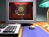 Elite Darts Windows A scene from the tutorial movie showing mouse control of a virtual arm. The game's power meter is shown on the screen