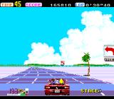 OutRun TurboGrafx-16 A sign tells you to steer left