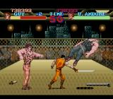 Final Fight Guy SNES Bossfight against two Andores in a cage.