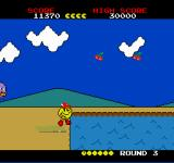 Pac-Land TurboGrafx-16 The springboard allows you to jump over the pool