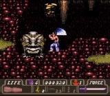 First Samurai SNES Fighting against a giant stone head