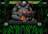 Brutal: Paws of Fury Genesis Foxy Roxy about to be knocked out in the jungle level.