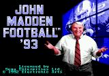 John Madden Football '93 Genesis Title screen