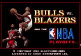 Bulls vs. Blazers and the NBA Playoffs Genesis Title screen