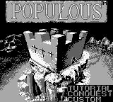 Populous Game Boy Title screen